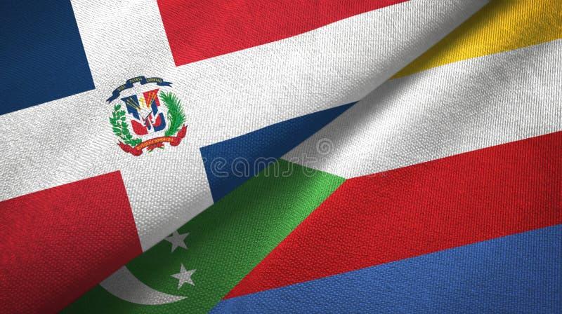 Δομινικανή Δημοκρατία και Κομόρες δύο υφαντικό ύφασμα σημαιών, σύσταση υφάσματος απεικόνιση αποθεμάτων