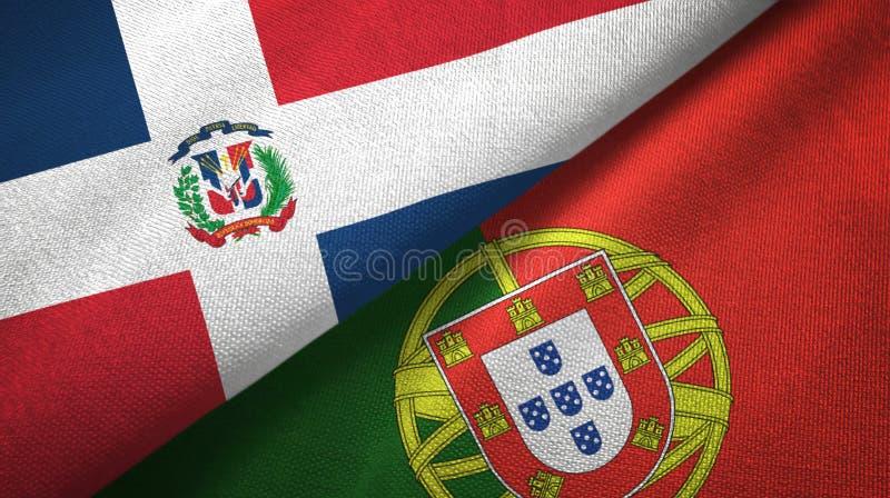 Δομινικανή Δημοκρατία και Πορτογαλία δύο υφαντικό ύφασμα σημαιών, σύσταση υφάσματος ελεύθερη απεικόνιση δικαιώματος