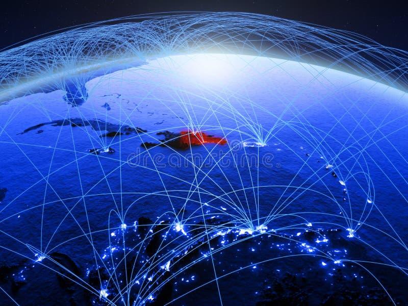 Δομινικανή Δημοκρατία στον μπλε ψηφιακό πλανήτη Γη με το διεθνές δίκτυο που αντιπροσωπεύει την επικοινωνία, το ταξίδι και τις συν στοκ φωτογραφία με δικαίωμα ελεύθερης χρήσης
