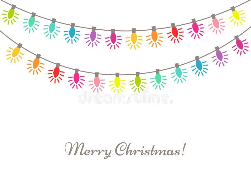 Δονούμενη αλυσίδα χρωμάτων φω'των Χριστουγέννων απεικόνιση αποθεμάτων