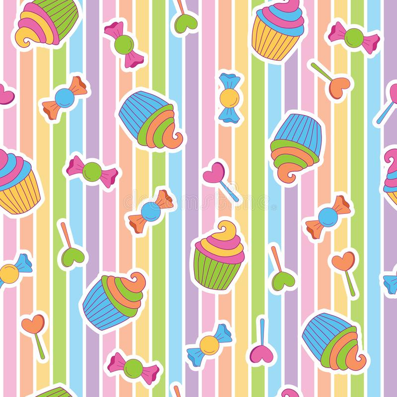 Δονούμενη νεβρική καραμέλα cupcake στο χρώμα ουράνιων τόξων στοκ εικόνες