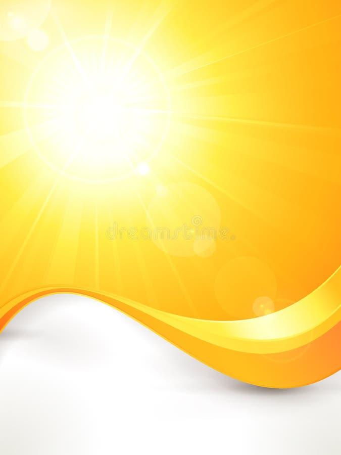 Δονούμενος καυτός διανυσματικός θερινός ήλιος με τη φλόγα φακών και  διανυσματική απεικόνιση