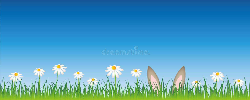Δορά αυτιών λαγών σε ένα σχέδιο Πάσχας λιβαδιών λουλουδιών ελεύθερη απεικόνιση δικαιώματος