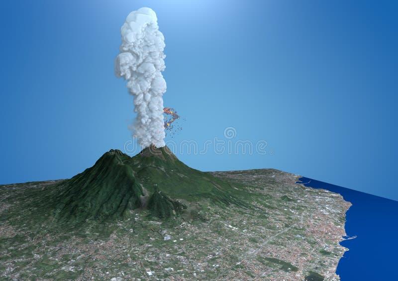 Δορυφορική άποψη της έκρηξης του Βεζούβιου ηφαιστείων διανυσματική απεικόνιση