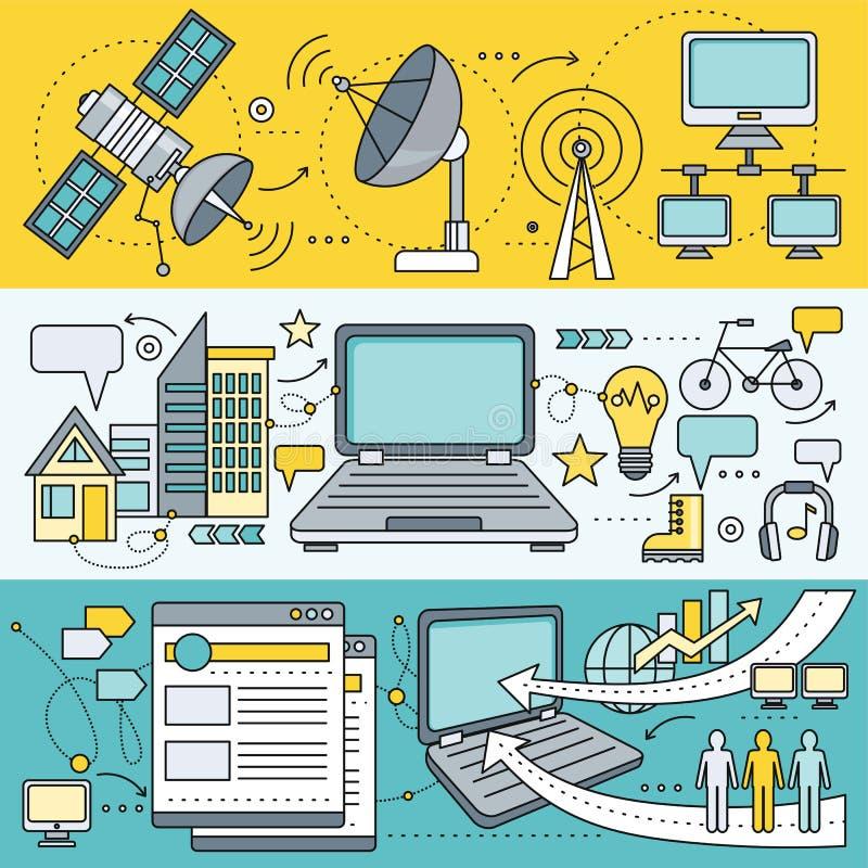Δορυφορικοί προμηθευτές παγκόσμιων δικτύων Διαδικτύου διανυσματική απεικόνιση
