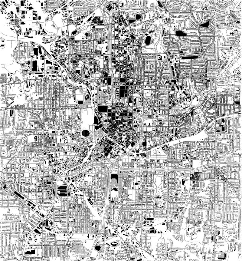 Δορυφορικός χάρτης της Ατλάντας, Γεωργία, ΗΠΑ, οδοί πόλεων διανυσματική απεικόνιση