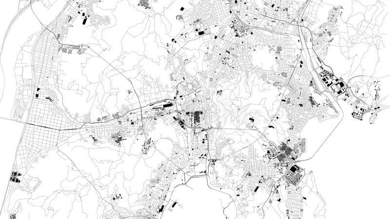 Δορυφορικός χάρτης της μητροπολιτικής πόλης Busan 30 μεταβαλλόμενος νότος της Κορέας PAL s Σεούλ βασιλιάδων Ιουλίου φρουρών διανυσματική απεικόνιση