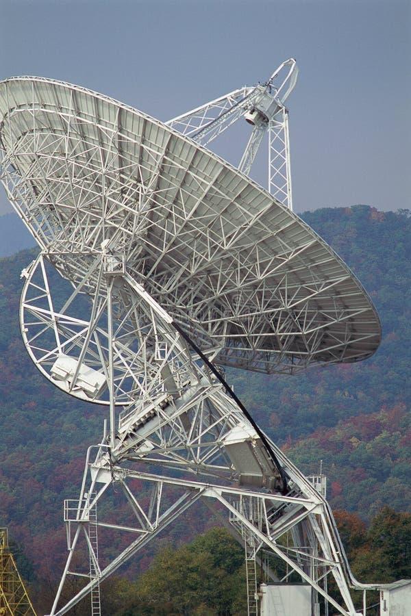 Δορυφορικό πιάτο με το βουνό πέρα στοκ εικόνες