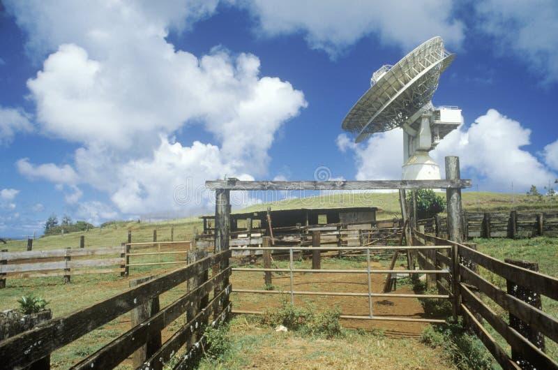 Δορυφορικό πιάτο COMSAT στις δορυφορικές επικοινωνίες Paumalu στην παραλία ηλιοβασιλέματος, Oahu, ΓΕΙΑ στοκ εικόνα με δικαίωμα ελεύθερης χρήσης