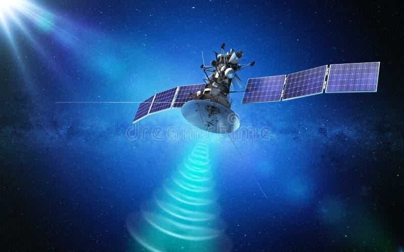 Δορυφόρος επικοινωνίας που διαβιβάζει ένα σήμα στο διάστημα r ελεύθερη απεικόνιση δικαιώματος