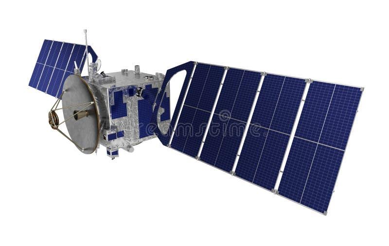 Δορυφόρος πέρα από το άσπρο υπόβαθρο διανυσματική απεικόνιση