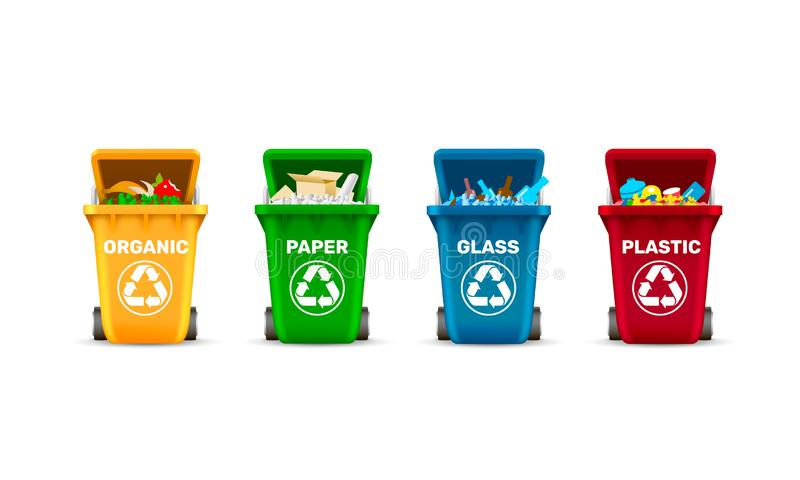 Δοχεία αποβλήτων, ταξινομώντας αποβλήτων, οργανικά πλαστικά γυαλί και έγγραφο, ένα σύνολο χρωματισμένων εμπορευματοκιβωτίων απεικόνιση αποθεμάτων