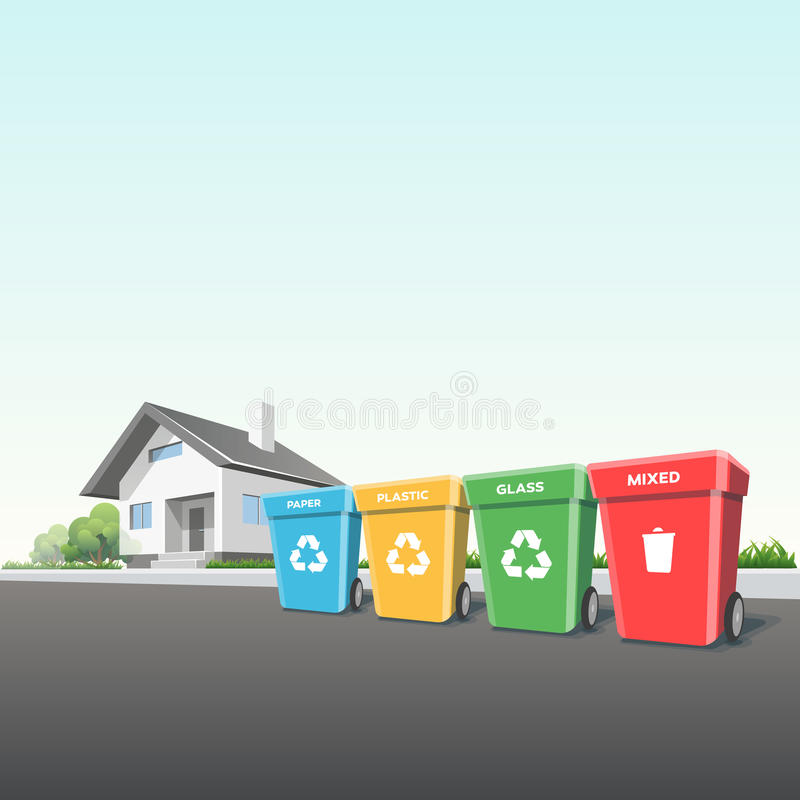 Δοχεία αποβλήτων οικιακής ανακύκλωσης έξω από ένα σπίτι απεικόνιση αποθεμάτων