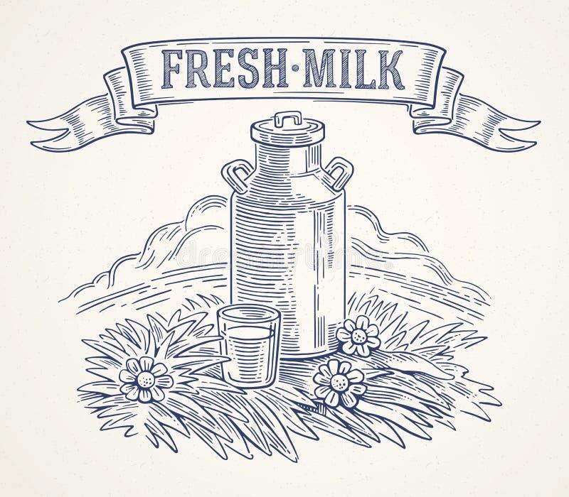 Δοχεία γάλακτος και ποτήρι του γάλακτος απεικόνιση αποθεμάτων