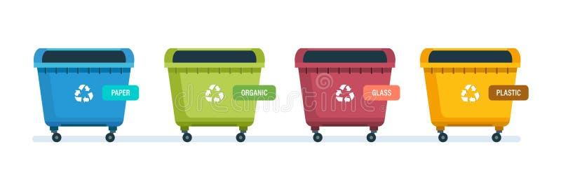 Δοχεία για τα προϊόντα εγγράφου, τα απόβλητα τροφίμων, το γυαλί και τα πλαστικά απόβλητα απεικόνιση αποθεμάτων