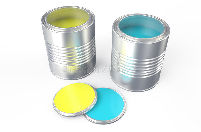 Δοχεία με το κίτρινο και μπλε χρώμα ελεύθερη απεικόνιση δικαιώματος