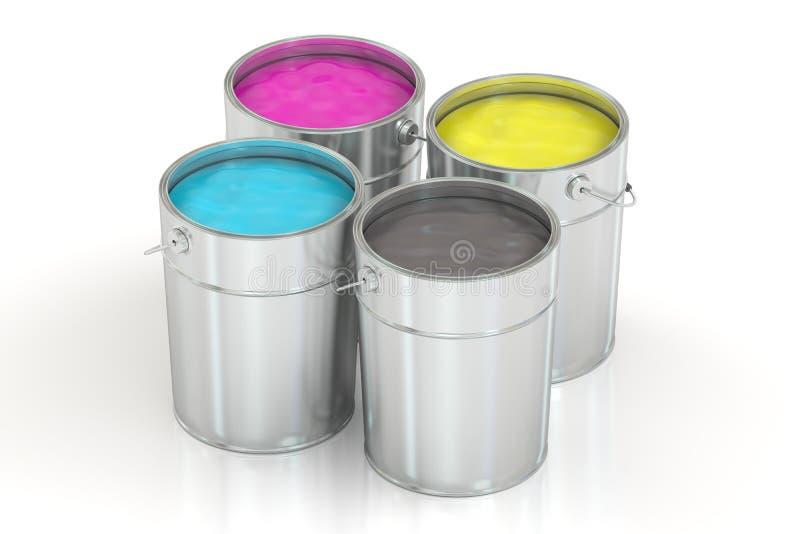Δοχεία με το χρώμα χρώματος, έννοια CMYK τρισδιάστατη απόδοση διανυσματική απεικόνιση