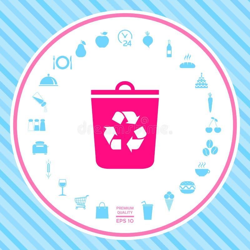 Δοχείο απορριμμάτων, ανακύκλωσης εικονίδιο δοχείων ελεύθερη απεικόνιση δικαιώματος