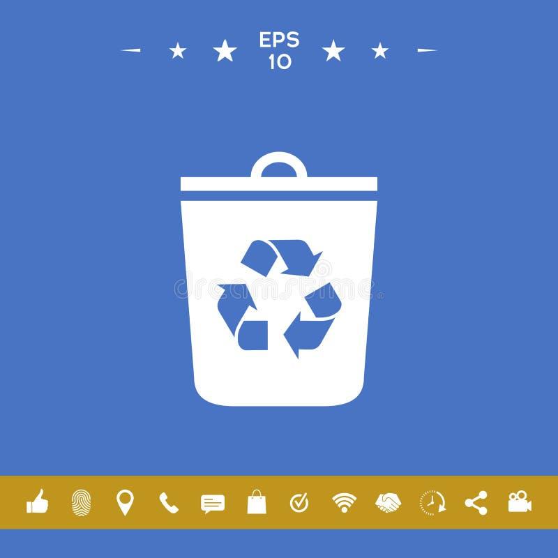 Δοχείο απορριμμάτων, ανακύκλωσης εικονίδιο δοχείων απεικόνιση αποθεμάτων
