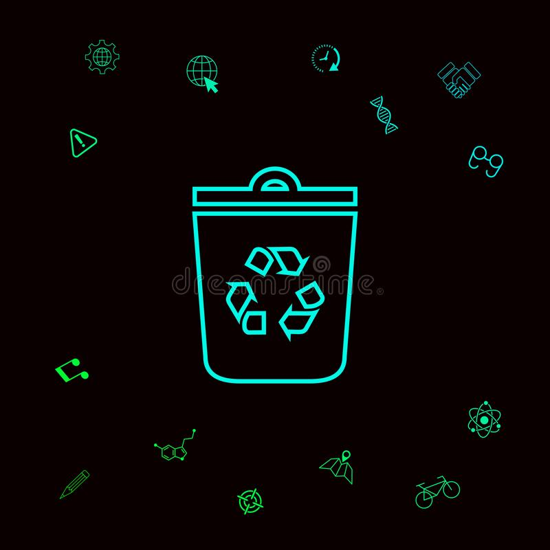 Δοχείο απορριμμάτων, ανακύκλωσης εικονίδιο συμβόλων δοχείων Γραφικά στοιχεία για το designt σας ελεύθερη απεικόνιση δικαιώματος