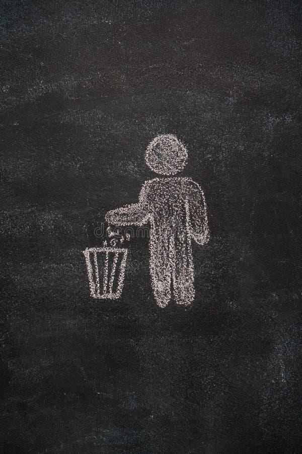 Δοχείο απορριμμάτων με το ανθρώπινο σύμβολο στο μαύρο πίνακα κιμωλίας στοκ φωτογραφίες