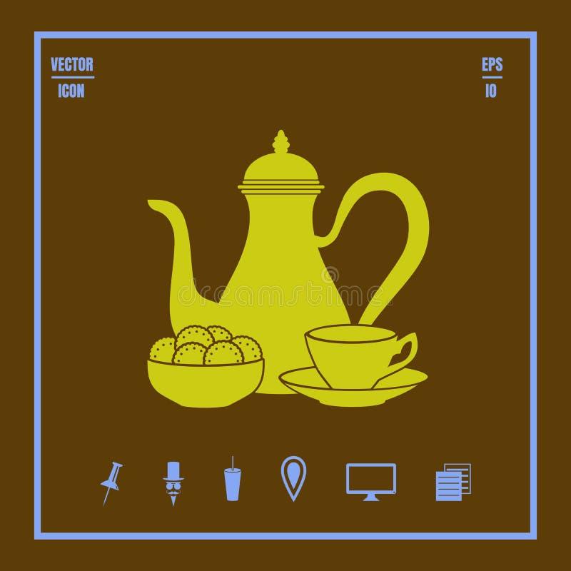 Δοχείο καφέ με το φλυτζάνι και το διανυσματικό εικονίδιο γλυκών ελεύθερη απεικόνιση δικαιώματος