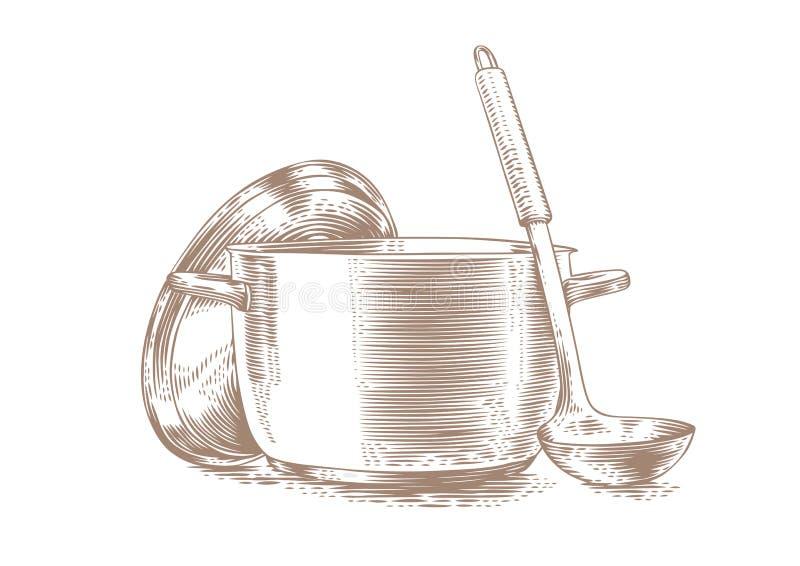 Δοχείο μετάλλων με το καπάκι και την κουτάλα ελεύθερη απεικόνιση δικαιώματος