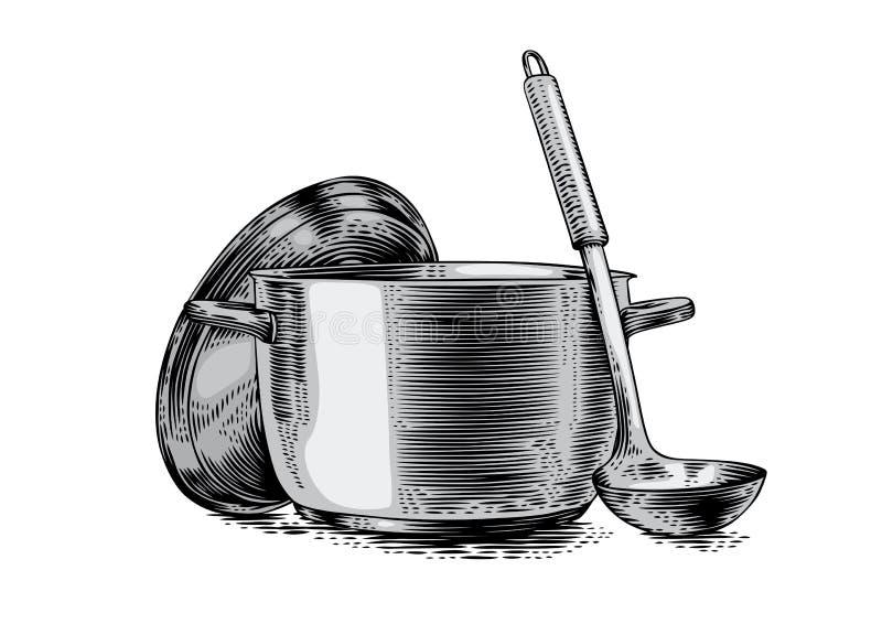 Δοχείο μετάλλων με το καπάκι και την κουτάλα διανυσματική απεικόνιση