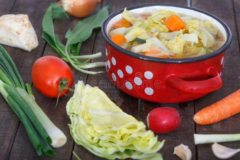 Δοχείο με τη σπιτική φυτική σούπα στοκ εικόνες