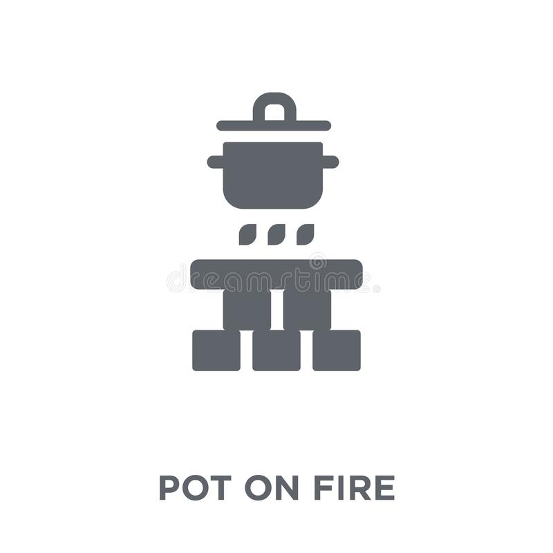 Δοχείο στο εικονίδιο πυρκαγιάς από τη συλλογή στρατοπέδευσης απεικόνιση αποθεμάτων