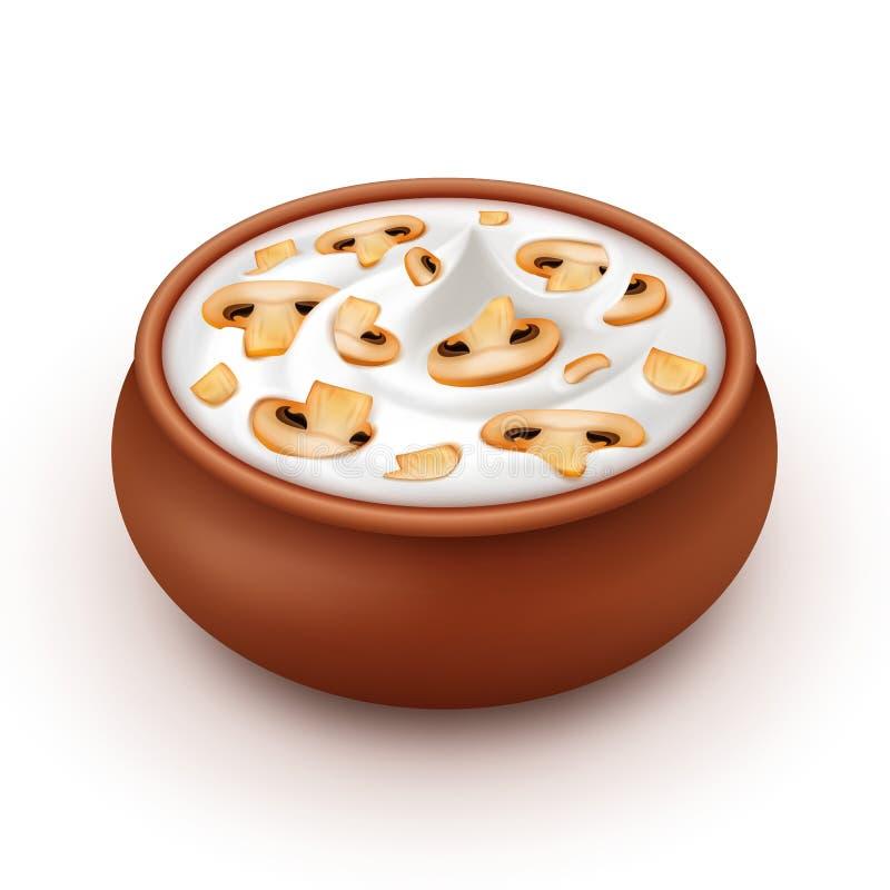 Δοχείο της μαγιονέζας σάλτσας με Champignons μανιταριών ελεύθερη απεικόνιση δικαιώματος
