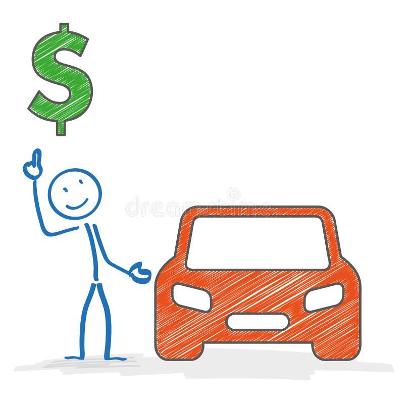 Δολάριο αυτοκινήτων Stickman διανυσματική απεικόνιση