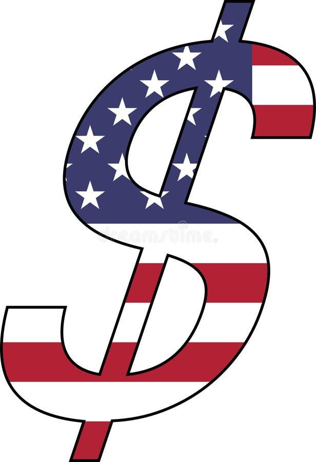 Δολάριο με την Ηνωμένη σημαία ελεύθερη απεικόνιση δικαιώματος