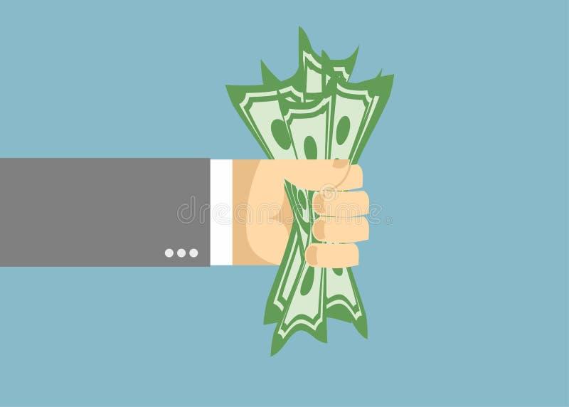 Δολάριο που παγιδεύεται σε ένα χέρι επιχειρηματιών πυγμών ελεύθερη απεικόνιση δικαιώματος