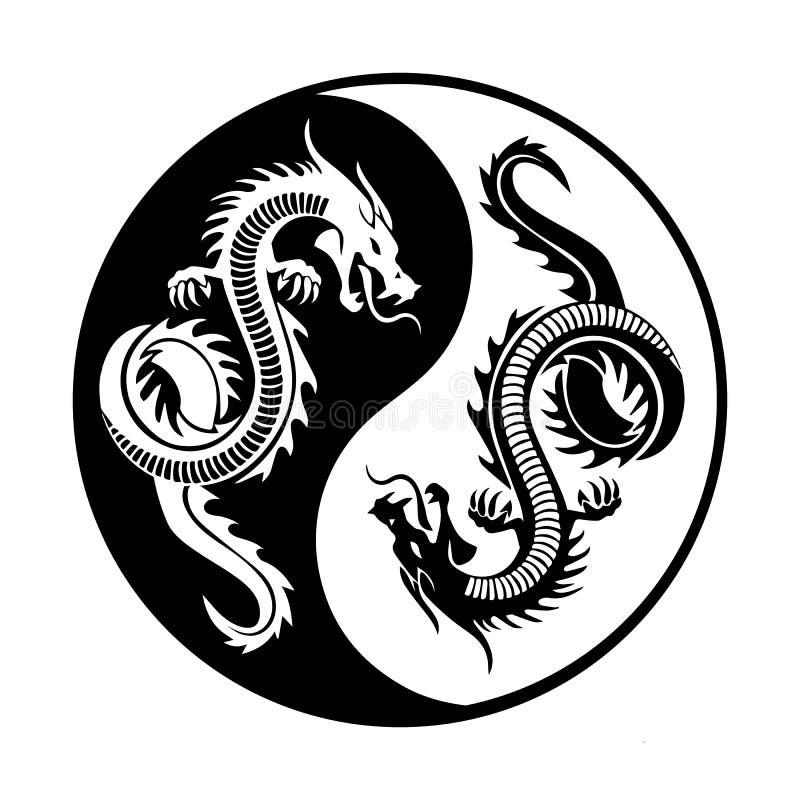 Δράκοι Yin yang ελεύθερη απεικόνιση δικαιώματος