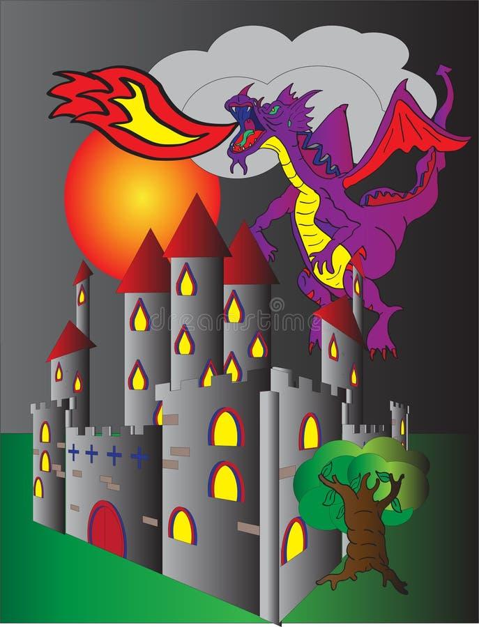Δράκος αναπνοής του Castle και πυρκαγιάς στοκ εικόνες με δικαίωμα ελεύθερης χρήσης