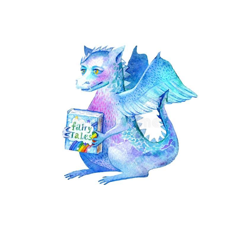 Δράκος και βιβλίο παραμυθιών r E διανυσματική απεικόνιση