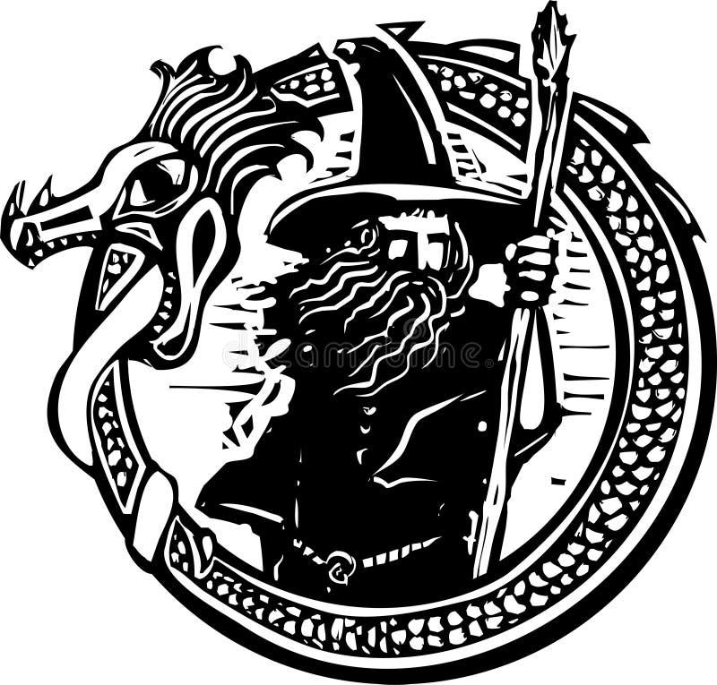 Δράκος και μάγος διανυσματική απεικόνιση