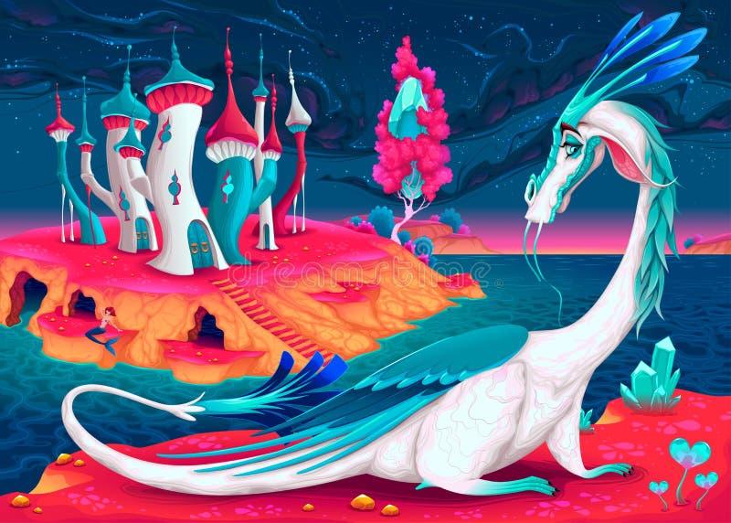 Δράκος κινούμενων σχεδίων σε έναν κόσμο φαντασίας ελεύθερη απεικόνιση δικαιώματος