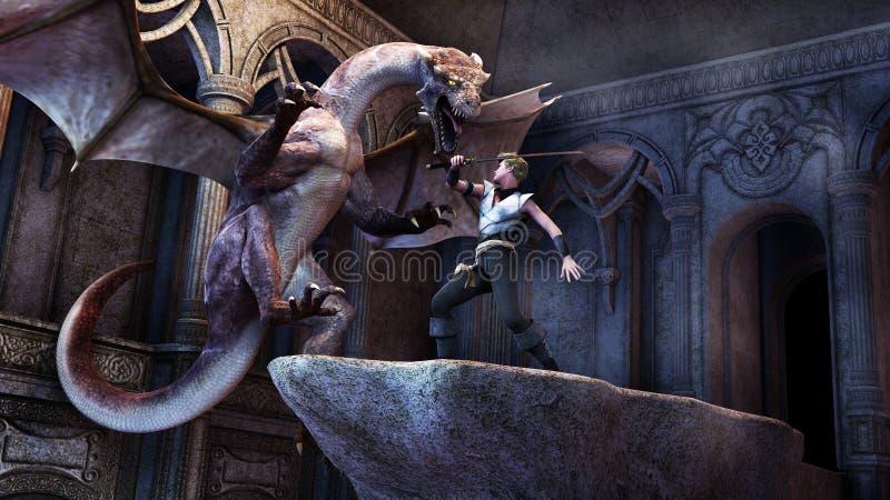 Δράκος με το αγόρι πολεμιστών διανυσματική απεικόνιση