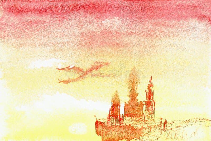 Δράκος που περιβάλλει πέρα από το watercolor κάστρων το αφηρημένο σχέδιο ελεύθερη απεικόνιση δικαιώματος
