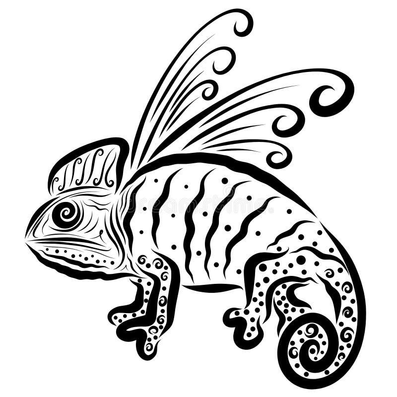 Δράκος, όπως έναν χαμαιλέοντα, ή φτερωτός χαμαιλέοντας απεικόνιση αποθεμάτων