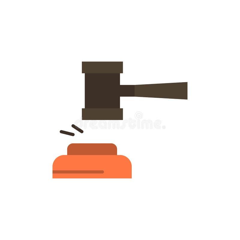 Δράση, δημοπρασία, δικαστήριο, Gavel, σφυρί, δικαστής, νόμος, νομικό επίπεδο εικονίδιο χρώματος Διανυσματικό πρότυπο εμβλημάτων ε απεικόνιση αποθεμάτων