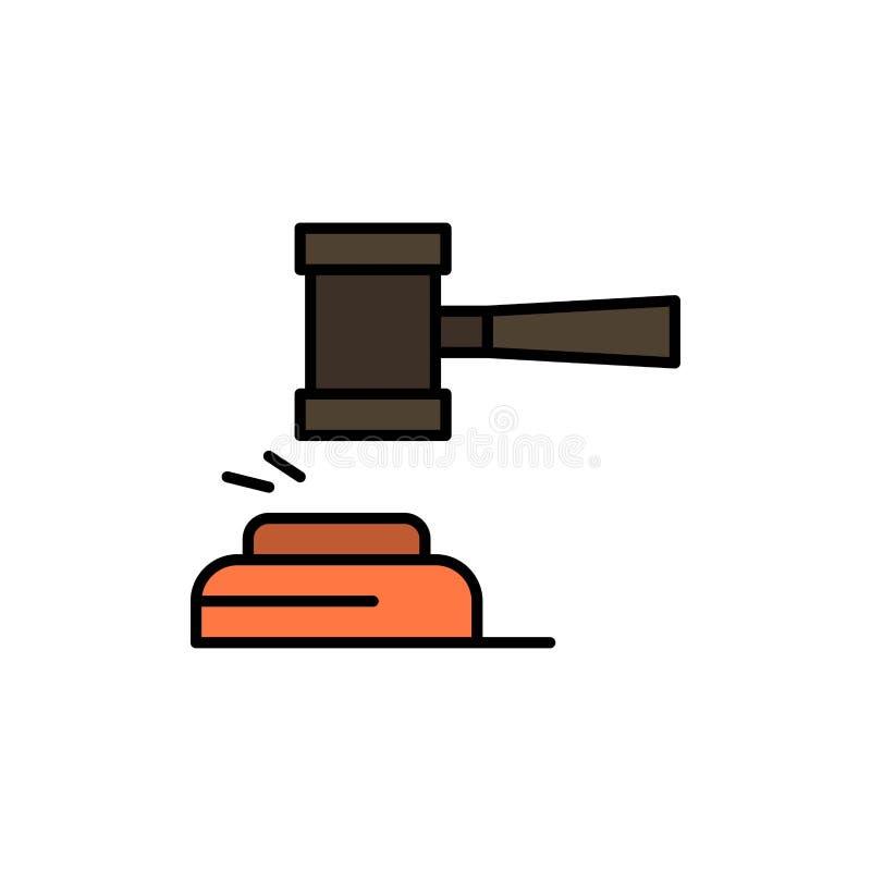 Δράση, δημοπρασία, δικαστήριο, Gavel, σφυρί, δικαστής, νόμος, νομικό επίπεδο εικονίδιο χρώματος Διανυσματικό πρότυπο εμβλημάτων ε διανυσματική απεικόνιση