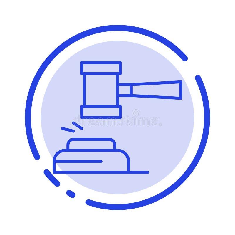 Δράση, δημοπρασία, δικαστήριο, Gavel, σφυρί, δικαστής, νόμος, νομικό μπλε εικονίδιο γραμμών διαστιγμένων γραμμών διανυσματική απεικόνιση
