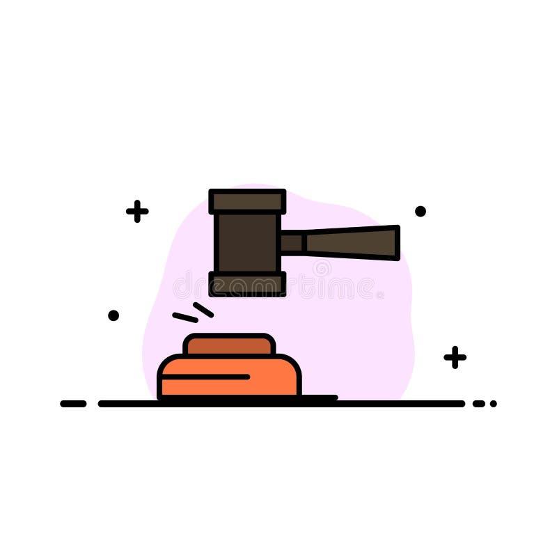 Δράση, δημοπρασία, δικαστήριο, Gavel, σφυρί, δικαστής, νόμος, νομικό πρότυπο εμβλημάτων επιχειρησιακών επίπεδο γεμισμένο γραμμή ε απεικόνιση αποθεμάτων