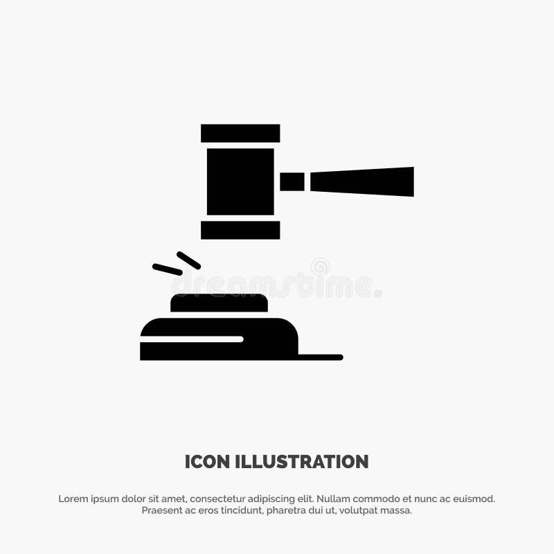 Δράση, δημοπρασία, δικαστήριο, Gavel, σφυρί, δικαστής, νόμος, νομικό στερεό διάνυσμα εικονιδίων Glyph ελεύθερη απεικόνιση δικαιώματος