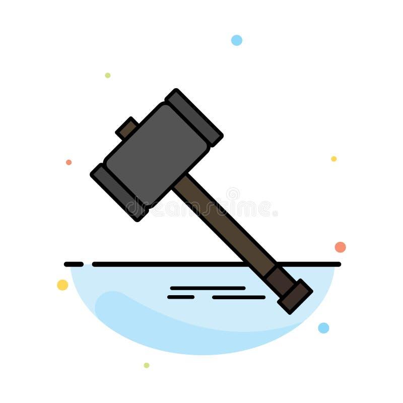 Δράση, δημοπρασία, δικαστήριο, Gavel, σφυρί, νόμος, νομικό αφηρημένο επίπεδο πρότυπο εικονιδίων χρώματος απεικόνιση αποθεμάτων