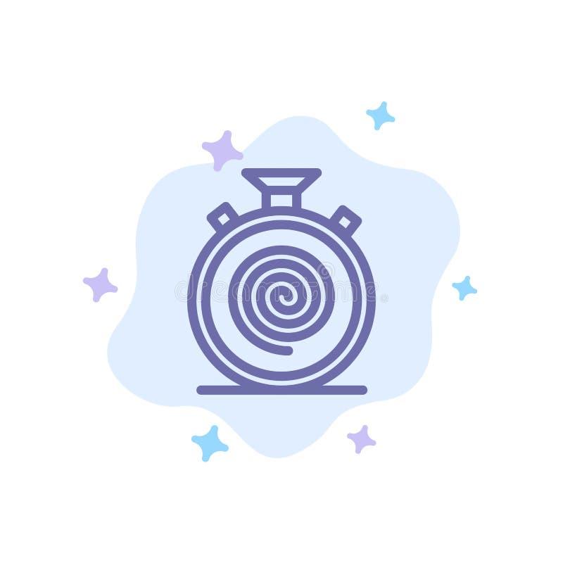 Δράση, κύκλος, ροή, απευθείας, αργό μπλε εικονίδιο στο αφηρημένο υπόβαθρο σύννεφων διανυσματική απεικόνιση