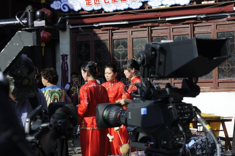 Δράστη στη μαγνητοσκόπηση Suzhou Κίνα μια σκηνή κινηματογράφων στοκ φωτογραφίες
